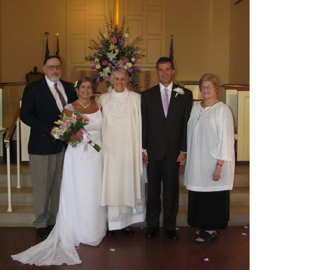 Karen and Tom Hattaway, with Jim Lindsay, the Rev. Barbara Allen, and Ginny Lindsay
